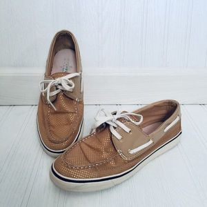 Sperry top sider tan and gold polka dot loafers
